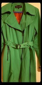 Pristine emerald green belted trenchcoat